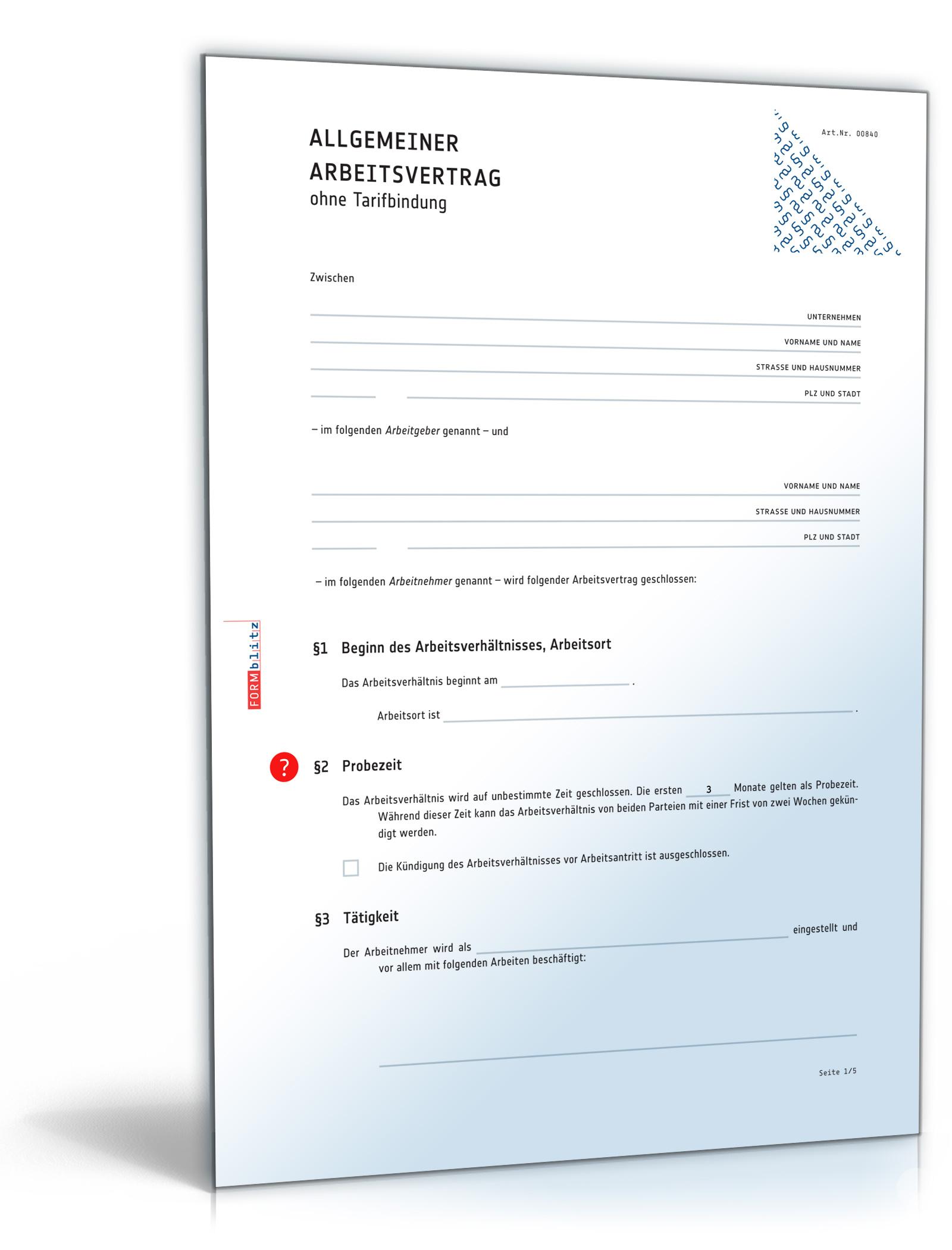 Arbeitsvertrag (DOC) - Allgemeine Vereinbarung ohne Tarifbindung [Download]