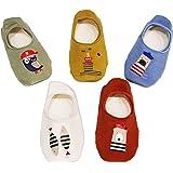 Ceguimos - Pack de 5 Pares Calcetines Invisibles para Bebé Niños - Antideslizante, Set 7, 3-5 Años