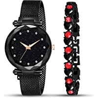 MARCLEX Analogue 12 Diamond Studded Chain Magnet Watch & Bracelet Combo for Girl's & Women's Watch (Pack of 2)