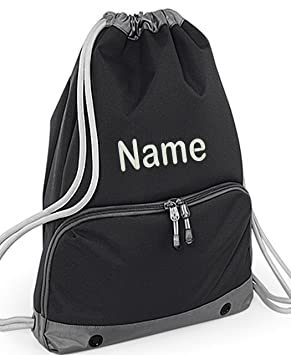 Personalised Embroidered Any Name Deluxe Gym Bags Sac Drawstrings Swim Sports