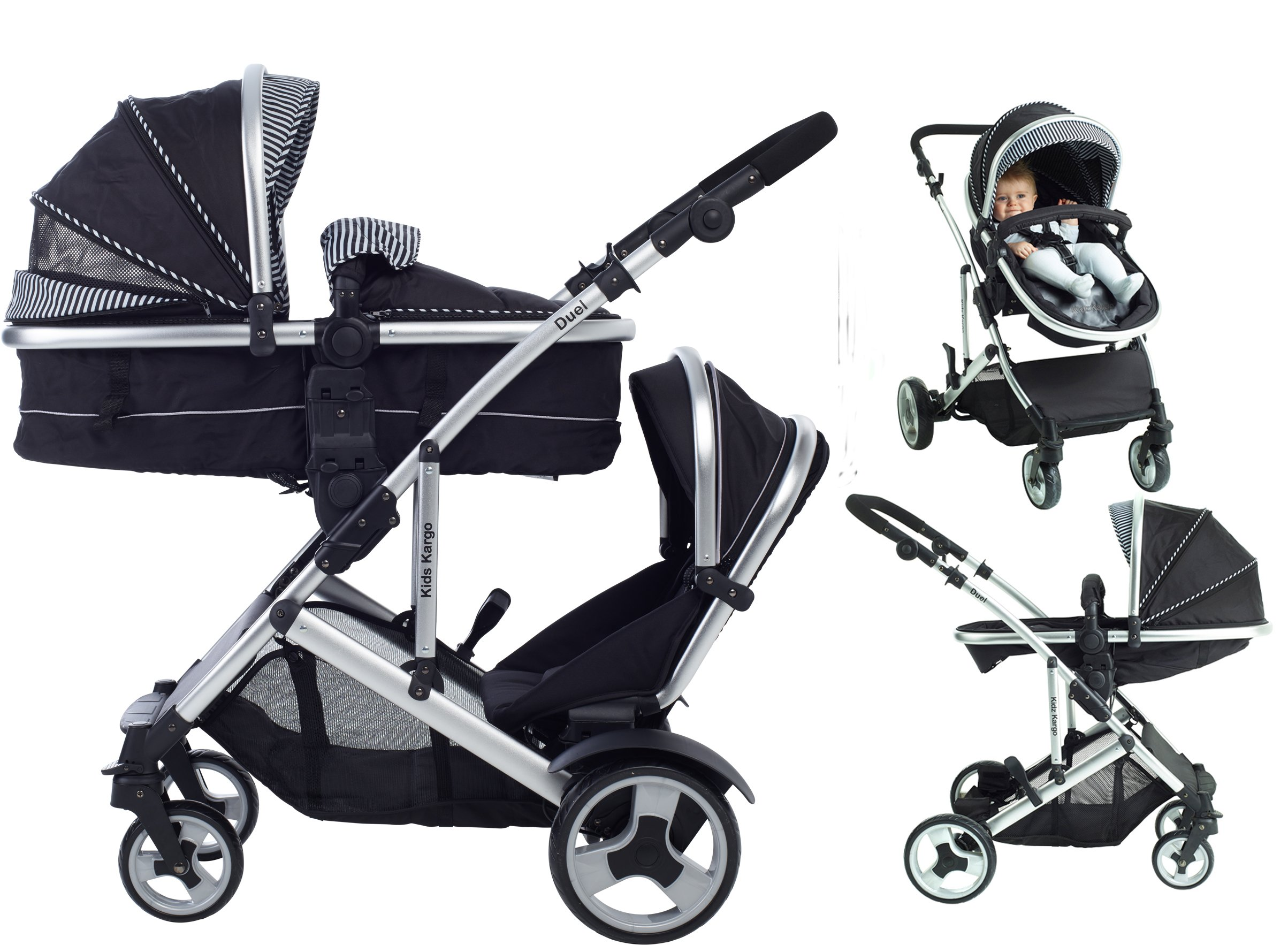 Kids Kargo Duel Combo Tandem Double Pushchair Stroller, Skinnie Minnie Kids Kargo Tandem double pushchair suitable for newborn and toddler Complete with carrycot that converts to a seat unto to grow with your baby. carrycot has soft padded lining which zips off and mattress.. Carrycot & car seats fit in top or bottom position. compatible car seats; kidz kargo 0+, britax babysafe 0+ (no adapters needed) or maxi cosi adaptors 1