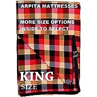Shri krishan kripa handloom Cotton 300TC Mattress Cover King Size Bed (72X72X4_Multi Color)