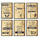 Vantagekart Hope, Success, Believe, Time, Idea, Happy Inspirational Motivational Self Adhesive Wall Posters for Home & Office