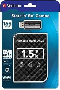 Verbatim Store N Go Combo Set External Hdd 1 5tb Usb Computers Accessories