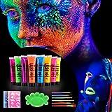 Herefun [8 X 25ml] UV Glow Pintura Corporal y Facial, Pintar Neón Fluorescente Color UV Luz Negra Arte Fosforescente Maquilla