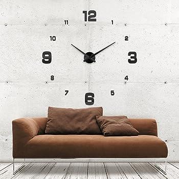 xxl3d riesige 3d wanduhr vinyl diy 130cm gro e xxl spiegel uhr schwarz v. Black Bedroom Furniture Sets. Home Design Ideas