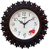 Oreva Plastic Wooden Look Designer Wall Clock (32.5 x 32.5 x 4.8 cm, Red, AQ 6197)