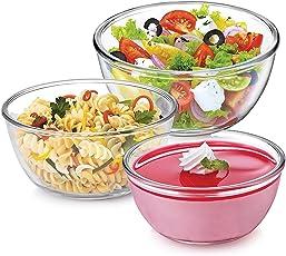 Treo Borosilicate Glass Microwave safe Mixing Bowl Combo of 3 (500, 1000, 1500ML) Beautiful & Deginner