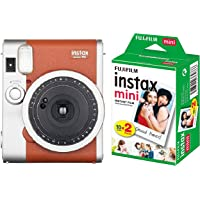 Fujifilm Instax Mini 90 Neo Classic Instant Film Camera (Brown) and Fujifilm Instax Mini Picture Format Film (20 Shots)