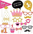 Wobbox First Birthday Party Props for Birthday Events, Glitter Pink