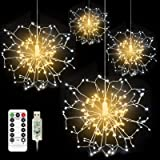 CP3 4Pcs Firework Lights 120 LED Copper Wire Starburst Lights, 8 Modes Fairy Lights with Remote, USB Power String Lights for