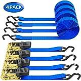 Ohuhu ratelspanbanden met S-haken, 680 kg, 4,6 m, 2,5 cm, ratelslot, sjorband, spanriemen, ratelriemen (4 stuks in set blauw)