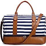 S-ZONE Damen Reisetasche Canvas 40L Weekender Tasche Übergröße Übernachtung Handgepäck Travel Duffle Bag Handtasche Schultert
