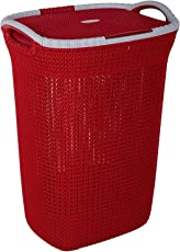 Nayasa Plastic Multipurpose Laundry Basket, Red