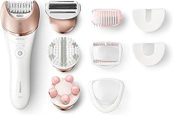 Philips Epiliergerät Satinelle Prestige BRE650/00 / Nass- und Trocken Epilierer inkl. 8 Zubehörteile für eine mühelose Anwendung an Beinen, Körper und Gesicht für langanhaltend glatte Haut
