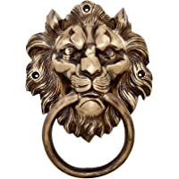 "Two Moustaches Brass 7.5"" Lion Mouth Door Knocker"