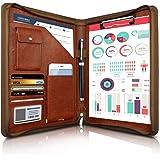 WOBEECO A4 Carpeta de Conferencias Zipper + Cuero, Carpeta de Documentos para Viaje, Portafolio Carteras de Viaje, Carpeta Or