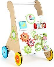 Small Foot 10745 Lauflernwagen aus Stabilem Holz, Multifunktionelles Motorikspielzeug an der Vorderseite, Gummierte Räder Sorgen für Sicheres und Geräuschloses Laufen