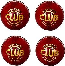 Set Of 4 Tima Club Genuine Leather Cricket Ball 2 Part Standard International Size
