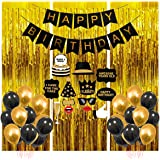 Party Propz Happy Birthday Decoration Items - 41Pcs for Black, Golden Balloons Banners Foil Curtain Photo Booth Props/ Birth