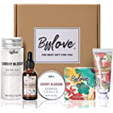 Coffret Cadeau Femme avec Fleur de Cerisier,5Pcs Coffrets Cadeaux Bain ,Sel de Bain, Crème pour Les Mains, Savon Sakura,Huile
