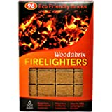 Natural Wood Eco Firelighters. 96 Sustainable Fire-starters Ideal for Wood Burners, Fire Pits, Pizza Ovens, BBQs. No…