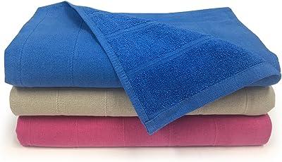 Core Designed by Spaces Solid 3 Piece 250 GSM Cotton Bath Towel Set - Sh Pink, R Blue and Beige