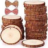 Rodajas de Madera Círculos 6-7 cm 30 pcs Fuyit Discos de Madera Rebanada 10m Cuerda de Cáñamo Maderas Naturales Perforado Con