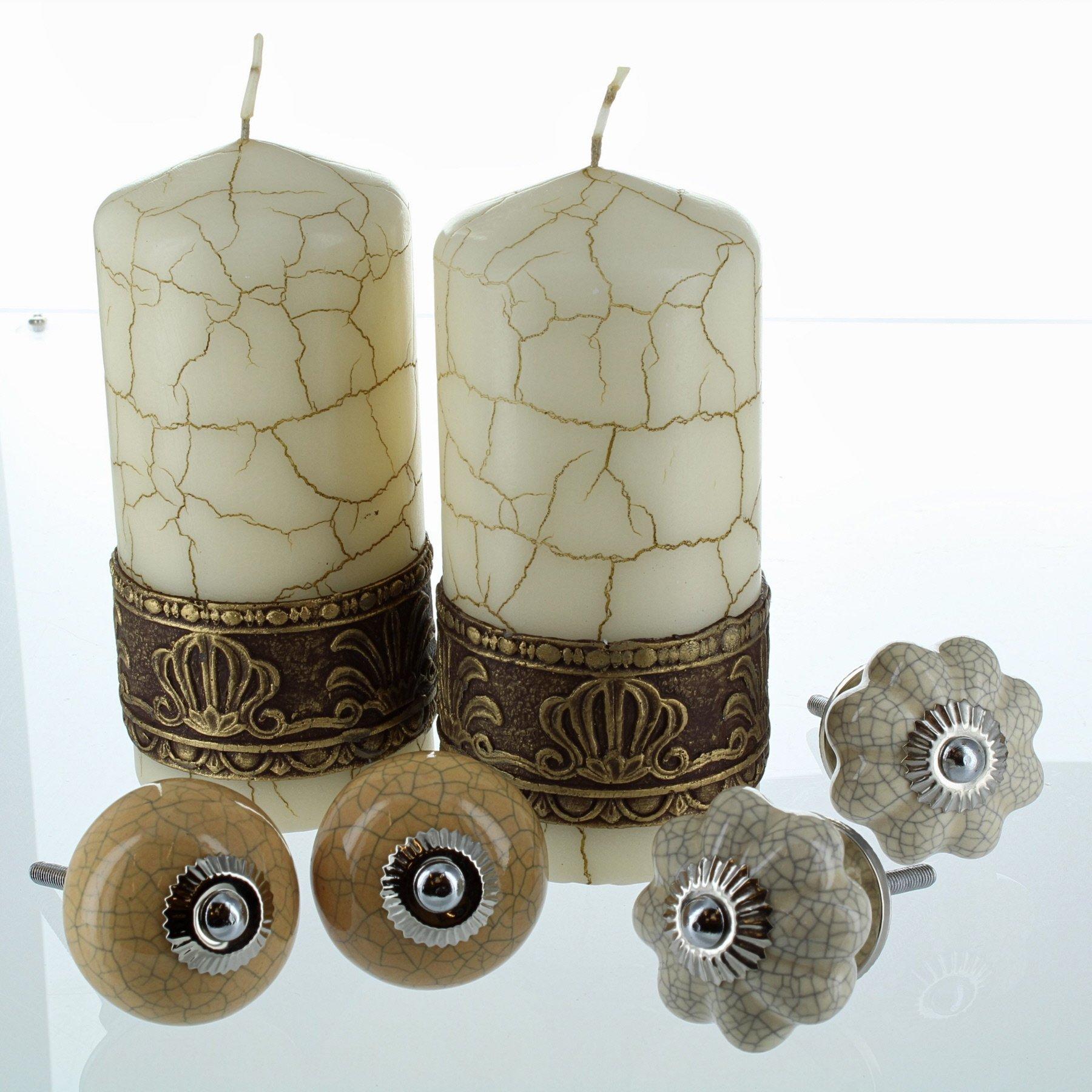 Crema crackle pilastro candela e crema e senape gialla in ceramica porta manopole
