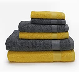 Spaces Atrium Solid 6 Piece 430 GSM Cotton Towel Set - Mustard Yellow and Grey