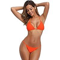 SHEKINI Costumi da Bagno Due Pezzi Imbottito Bandage Regolabile Halter Triangolo Top Bikini da Donna Mare Vita Bassa…