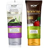 WOW Skin Science Apple Cider Vinegar Face Wash - No Parabens, Sulphate, Silicones & Color (100mL) & WOW Activated Charcoal in