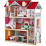TOP BRIGHT Dockskåp i trä för flickor, stor dockskåp leksak för barn med möbler och hiss