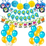 party propz baby shark theme decoration combo happy birthday banner balloon swirl pom pom set 39pcs for kids birthday party s