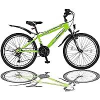 Talson 26 Zoll Mountainbike Fahrrad mit Gabelfederung und Beleuchtung mit 21-Gang in Grün