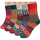 Vellette Calcetines algodón termicos ricos en algodon para Muje-Niña-Ideales para invierno EU 34-40 (5 Pares)