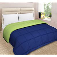 Urban Basics Microfiber 200 TC Double Bed King Size Reversible Comforter (Blue & Green) (COM101)