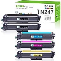 Aztech Compatible pour Brother TN-243CMYK TN247 Cartouche de Toner pour Brother MFC-L3750CDW DCP-L3550CDW MFC-L3770CDW…