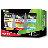 Garnier Men Face Wash Combo Pack (Acnofight, Power White Double Action, Oil Clear) 300gm (Pack of 3)