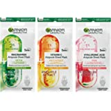 Garnier Ampoule Sheet Masks, Pineapple & 1% Vitamin C To Brighten Skin, Watermelon & 1% Hyaluronic Acid To Replump Skin…