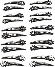 Bindhani Black with Stone Metallic Tic Tac Hair Clips for Women - Pack of 10 Pairs