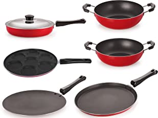 Nirlon Non-Stick Aluminium Cookware Set, 6-Pieces, Red (FT12CTFP12KD12KD14UP)