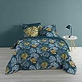 Douceur d'Intérieur, Parure 3 Pieces 240 x 220 cm Betty Blue, 100% Coton Multicolore Jumeau