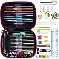 Anpro 100 PCS Accessoires Nécessaires à Tricoter 22PCS Crochets de Tricot Aluminium Assortiment de crochets Outils…