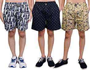 White Moon Cotton Men's Printed Casual,Sports,Regular wear Boxer/Shorts with Pockets in BLK,NVY,CML Colour (Pack of 3)