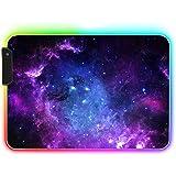 Alfombrilla Ratón RGB - UCMDA Alfombrilla Gaming 14 Modos de Luces XL (35 x 25 cm), Grande Mouse Pad Base Antideslizante y Im