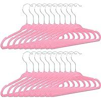 Relaxdays Cintres enfants en plastique 20 antidérapant vêtements bébé enfant velours HxlxP: 18 x 28 x 0,5 cm, rose