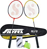 Silver's SB-100 Combo-2 (2 B/Rackets with 1 Full Cover + 2 Pcs Plastic Shuttle) Red-Yellow