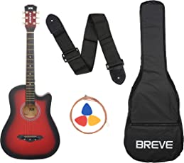 Breve BRE-38C-RD Acoustic Guitar with Bag (Red)