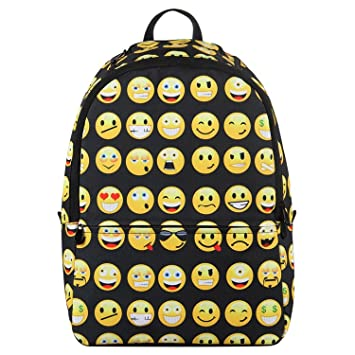 Veevan Kids Cute Emoji School Backpacks (Black): Amazon.co.uk: Luggage